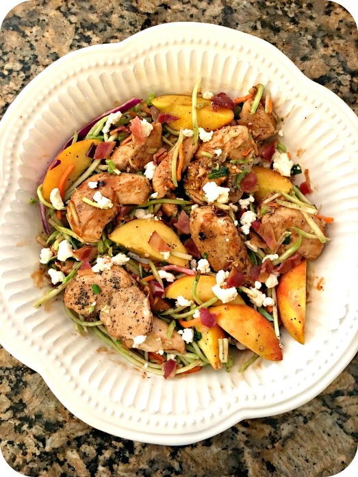 BBQ Chicken, Peach and Feta Slaw