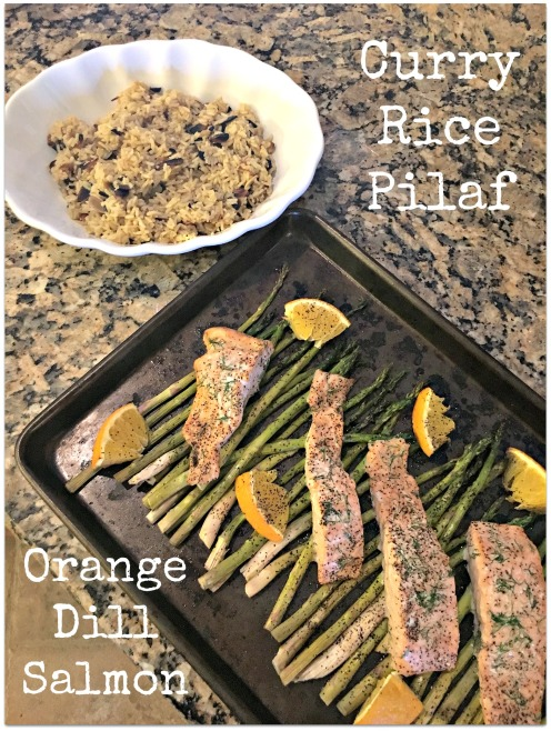 Orange Dill Salmon and Curry Rice Pilaf