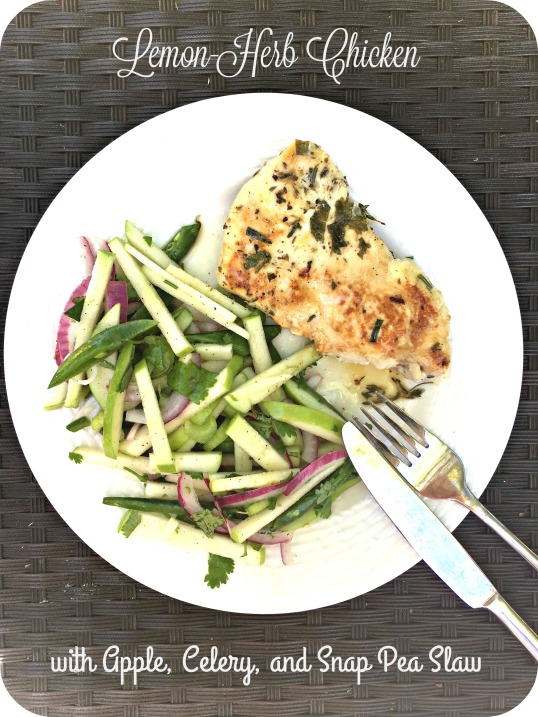 Lemon-Herb Chicken with Apple, Celery, and Snap Pea Slaw