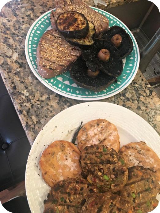 Grilling Tuna, Portobellos, Salmon and Veggie Burgers