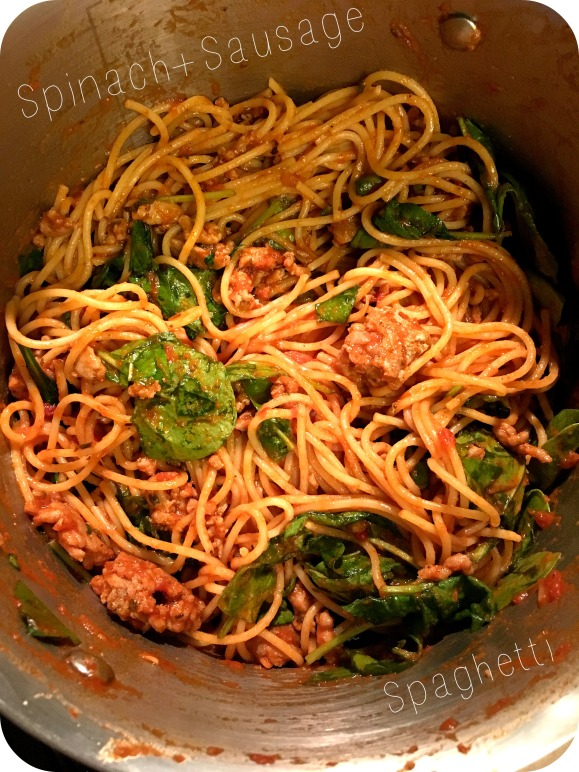 Spinach and Sausage Spaghetti